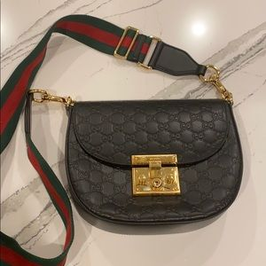 Gucci black leather canvas strap crossbody